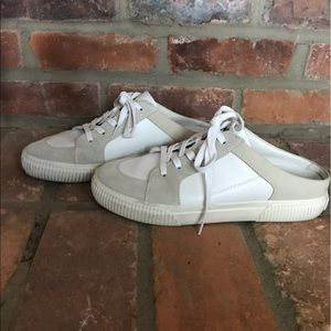 Vince Kess Backless Leather and Suede Sneakers